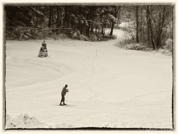 Cross country skier, skier, snow, winter, fine art, wall art, skiing, Christmas, vintage, old fashioned, landscape