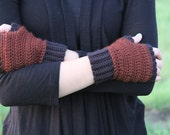 Crochet Fingerless Gloves -Men's or Woman's - Brown and Black - You Pick Which Pair