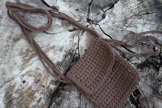 iPod or Cell Phone Neck Pouch - 100% Brown Cotton Yarn - Hand Crocheted Of Course