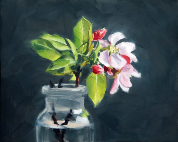 Oil Painting of Apple Blossoms