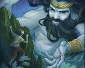 Viking Ocean God Illustration 11x17 - albaillustration