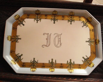 Beautiful monogrammed china tray...SALE NOW 25.00....