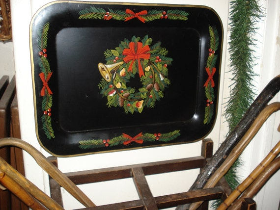 SALE PRICE 32.00....Heavy hand painted tole Christmas tray, 14 3/4  X 19 1/2 inches, 2 AVAILABLE