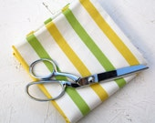 Vintage Sheet Green & Yellow Stripe Fabric - Half Yard