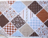 Vintage Sheet Blue Brown Patchwork Fabric - One Yard