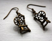 Spinning Wheel earrings - bronze - spinning wheels, spinner, spindle, distaff, weaver, weave, 3D, 3 d, double sided