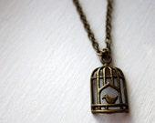 Bird Cage necklace - birdcage necklace, bird cage, bronze, jewellery, jewellery, vintage look