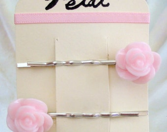 Rose resin hair clips bobby pins - PALE PINK - Silver clips (Petal Gifts)