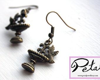 Bird Bath earrings - bronze - birdbath, fountain, water, hummingbird, wings, secret garden, water, spring, 3D, 3 d