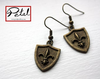 Shield earrings - bronze - shield, armour, medieval, fleur de lis, French, fleur de lys, heraldry