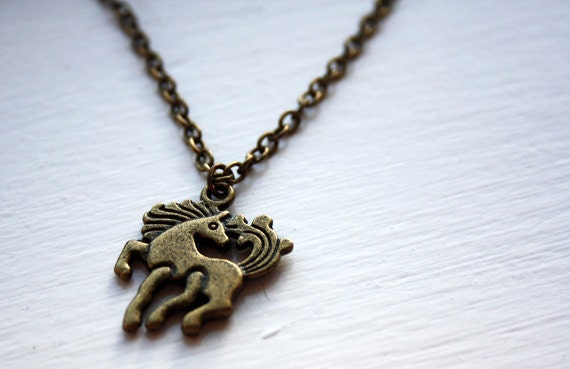 Pony necklace - SALE! 25% off - horse necklace, horses, 3D, 3 d, double sided, bronze, ponies, equestrian, foal