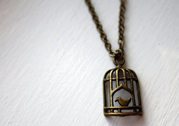 Bird Cage necklace - birdcage necklace, bird cage, bronze, jewellery, jewelry, vintage look