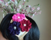 Floral Pearl Valentine's Day Feminine Crocheted Hair Fascinator Purple, Hot Pink, Dark Red, Gold, Cream