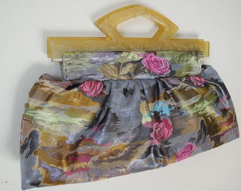 Clutch Purse/Pleated Clutch, Stylish and Unique, Handmade from Silk Fabric with Colorful Woven Floral Pattern and Two Golden Lucite Handles