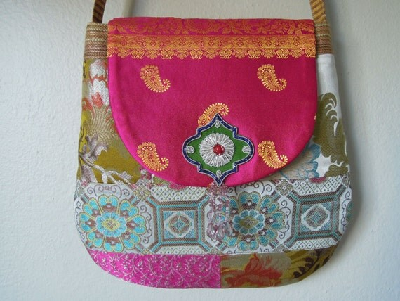 Messenger Bag/Cross Body Bag/Patchwork Bag, Handmade from Silk Brocade Fabrics with Embroidered Patterns and a Beaded Tassel on the Flap.