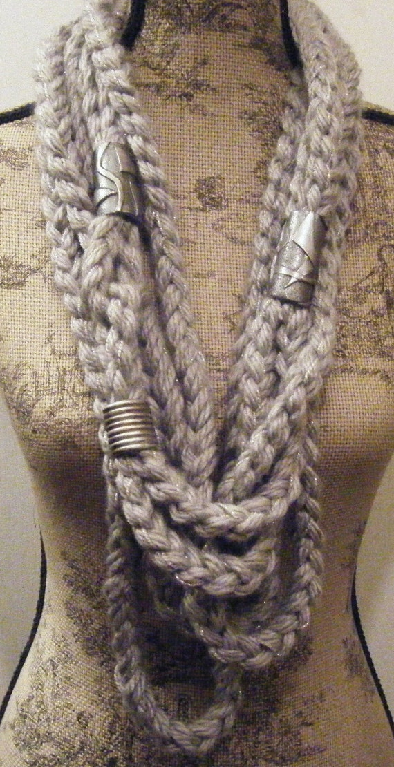 Grey and Silver Chunky Rope Scarf with Silver Metallic Beads
