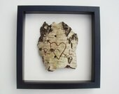 With frame: Personalised / Personalized love birch tree bark carving (black, white, brown) I love you