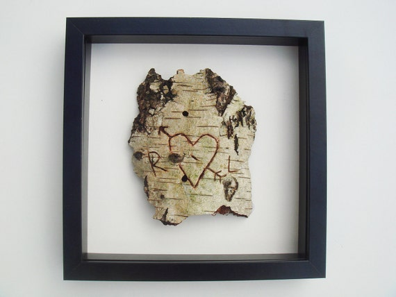 PRINT of your Personalised / Personalized love birch tree bark carving (black, white, brown) WITH FRAME