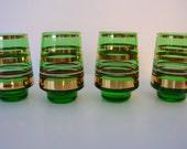 4 Emerald Green Cordial Glasses- Small Vases- Gold Bands- Shot Glasses