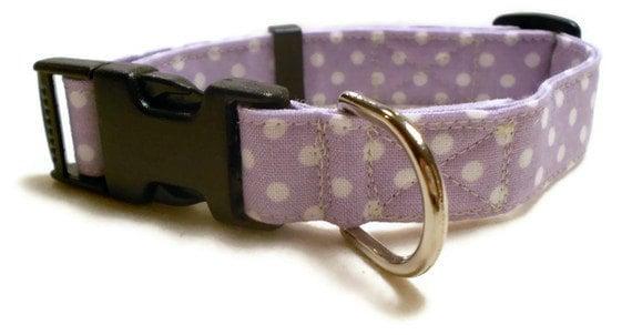 "Dog Collar Purple Polka Dots- Adjustable - Medium Size 3/4"""