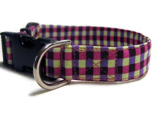 "Dog Collar Purple Pink and Yellow Plaid - Adjustable - Medium Size 3/4"""