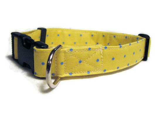 Dog Collar Yellow with Light Blue Polka Dots - Adjustable - Large Size 3/4""
