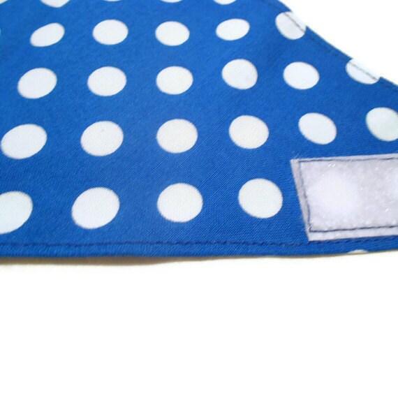 Dog Bandana Blue with White Polka Dots - Adjustable - Medium Size - Velcro