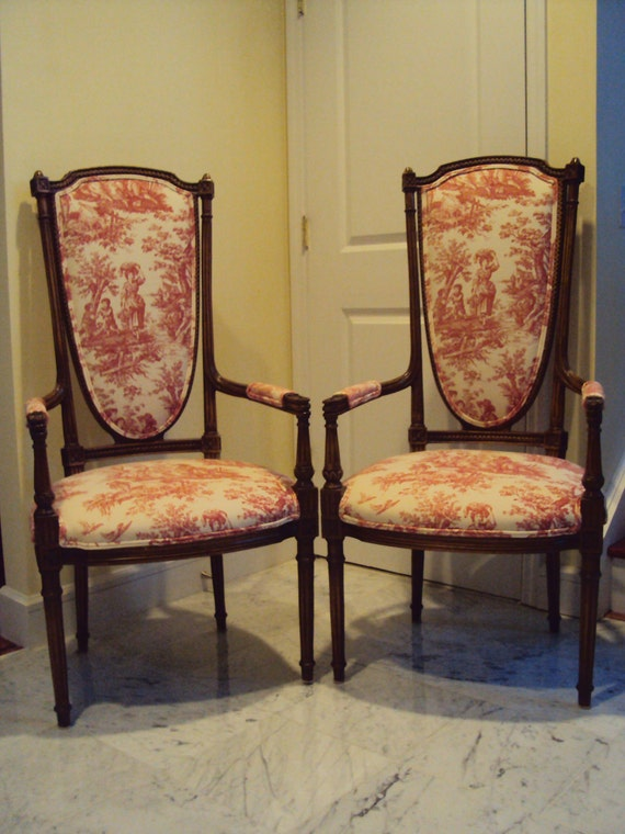 A Pair of Vintage Carved Wood Arm Chairs Upholstered in Red and White Toile Fabric