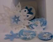 Winter Wonderland - Mini Kit with beaded snowflakes, lollipop flowers, fabric and felt embellishments