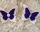 Set of 2 White and Purple Felt Butterflies with hand sewn Pearls and Button centers