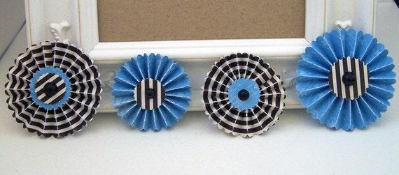 Set of 4 Striped Black and Blue  Paper Rosette Embellishments