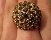 Antique Gold and Brown Cocktail Ring