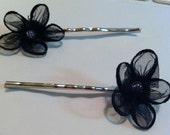 CLEARANCE Black Flower Hair Pins