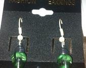 CLEARANCE Green Christmas Light Earrings