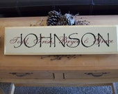 Handcrafted Family Signs.  We can customize these solid pine sign with your family names.