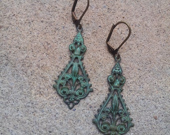 verdigris patina dangle earrings, vintage inspired, patina, wedding earrings, bridesmade dangle, birthday gift