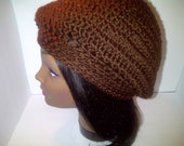 Brown Crochet Hat, Crochet Chocolate Brown Slouchy Hat, Tam, Beret, FREE SHIPPING