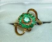 Unique, Vintage, Emerald, Cluster, Ladies, Cocktail Ring