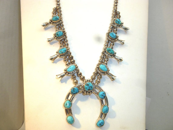 Vintage Silver and Turquoise Squash Bloom Necklace Handmade
