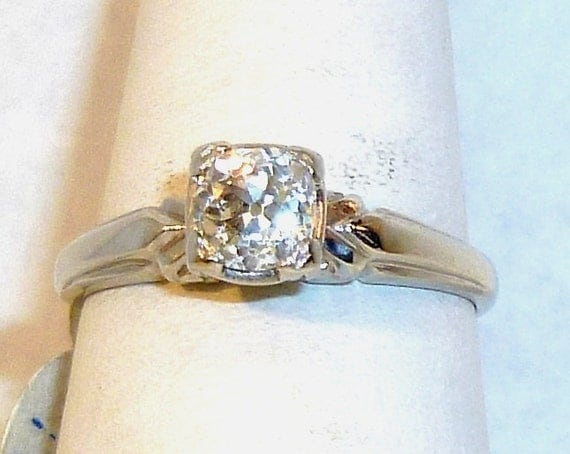 Beautiful, Ladies, Vintage, Diamond, 14 karat, Solid, White Gold, Engagement, Ring