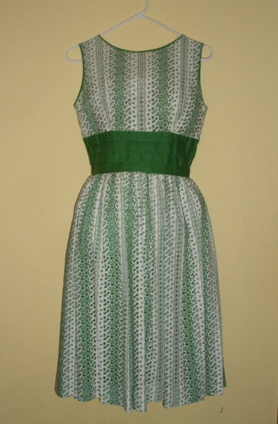 1950's Cotton, Kelly Green, Eyelet,  Dress 36 Bust, 30 Waist