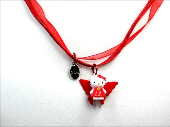 Hello Kitty Red Fairy Hello Kitty Believe Red Fairy Charm Necklace Handmade Hello Kitty Red Ribbon Gift Purse Necklace