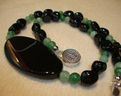 RESERVED for Fiona Necklace Black Tourmaline Stones Chunky Black Agathe and Aventurine Pearls