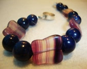 "Reserved for Fiona Bracelet Butterfly Fluorite Beads and Dark Blue Sodalite Pearls ""Four butterflies on blue pearls"""