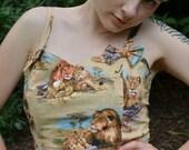 Gorgeous Lion crop top with bows Medium