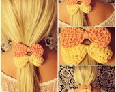 Crochet Bow Hair Elastic Ties Set of Two in Pastel Coral & Yellow