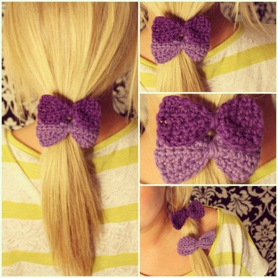 Crochet Bow Hair Elastic Ties Set of Two in Purple & Lavender