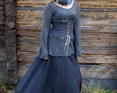 Ragnarök long wide woolen skirt. Elegant and feminine. High waist with Viking ornaments.