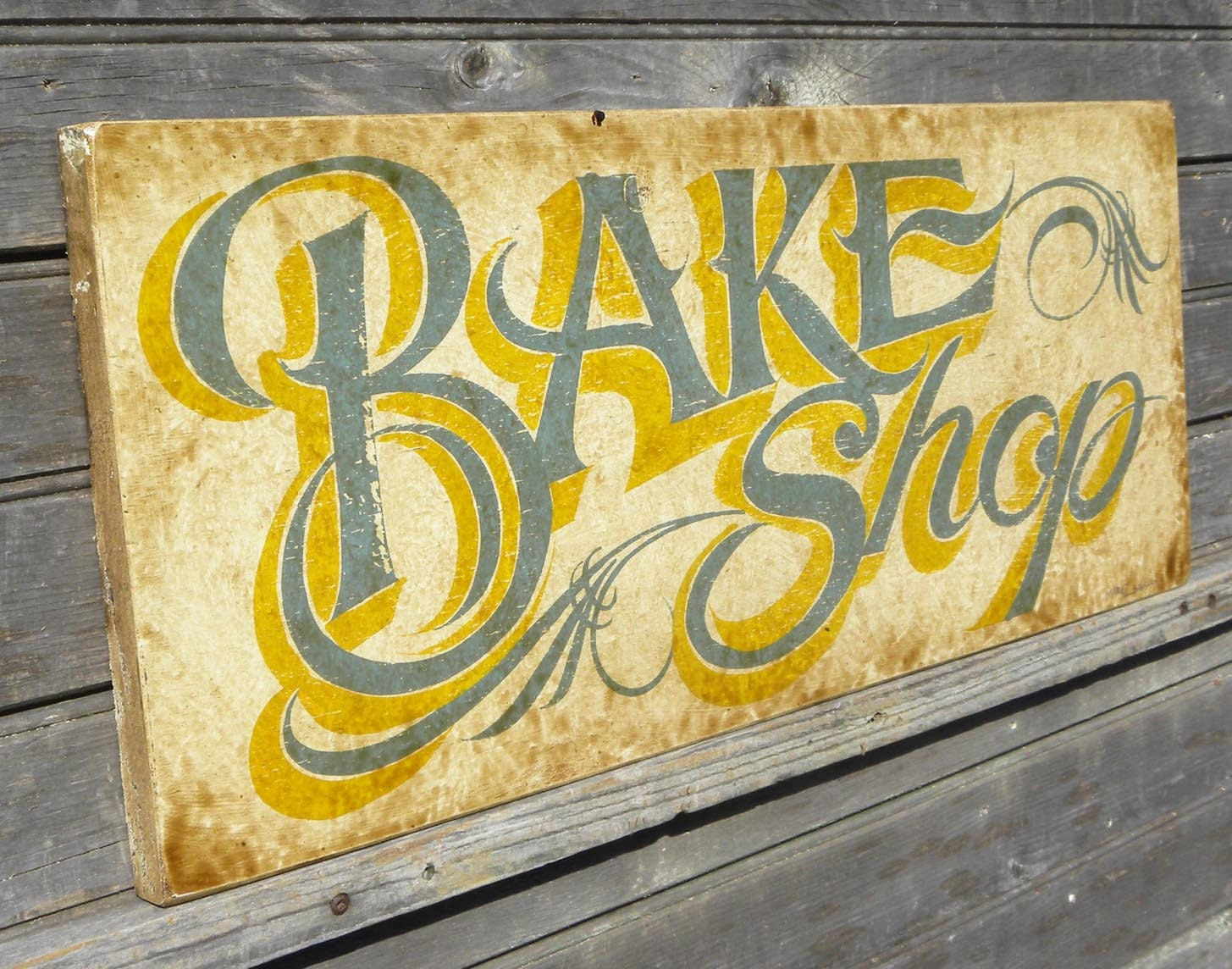 Bake Shop Sign faux vintage original hand painted wood sign
