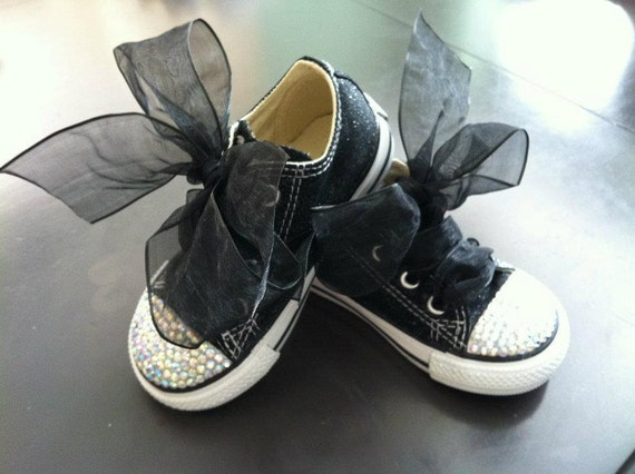 Sparkles Infant Toddler Youth Custom Lo Top Converse with Crystal Toes and Sparkling Canvas